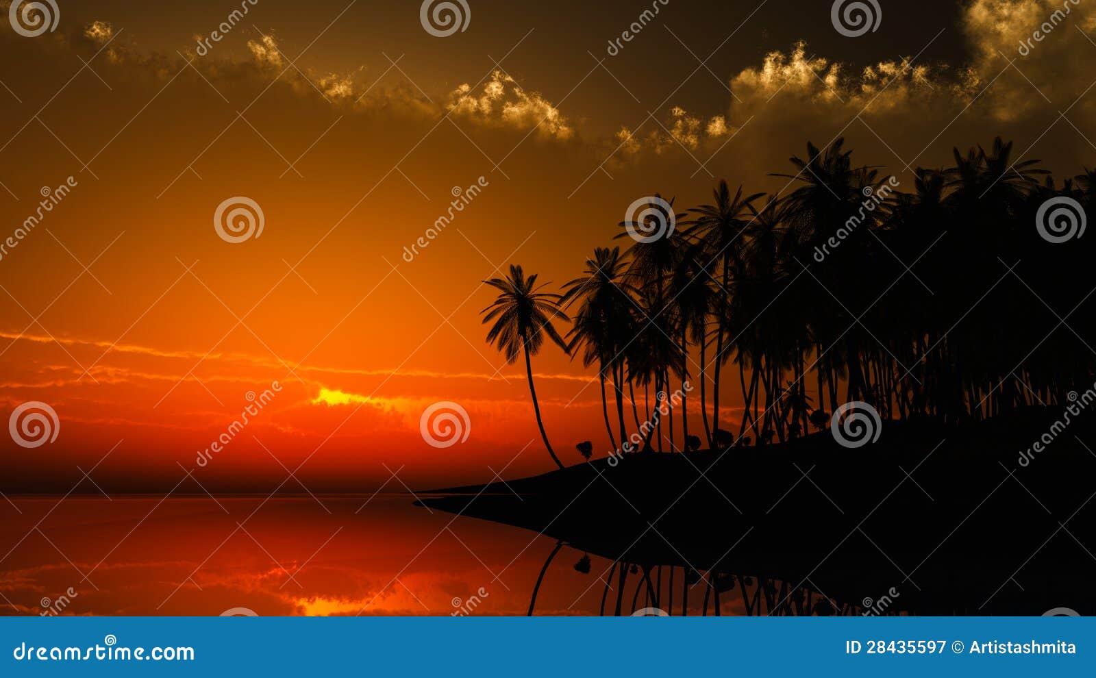 Por do sol de Havaí