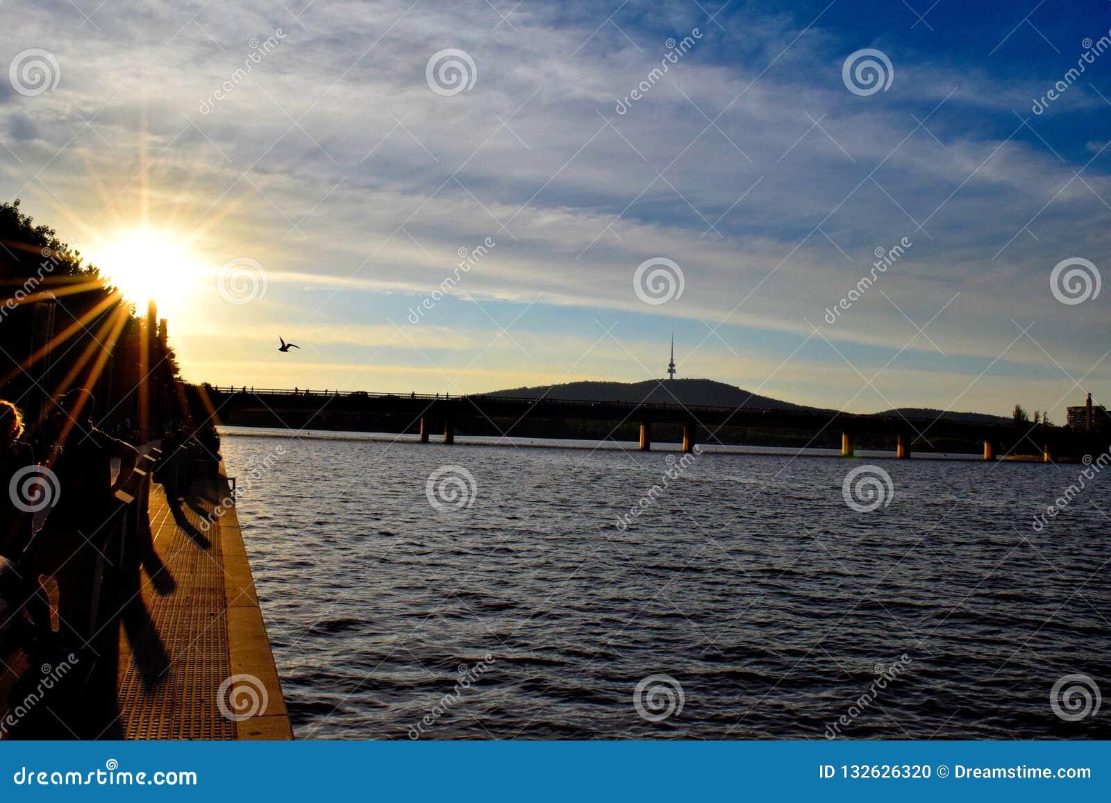 Por do sol em Canberra