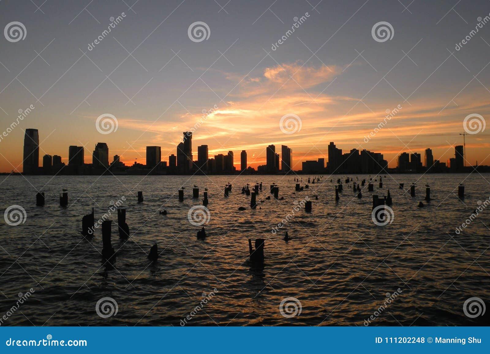 Por do sol em Hudson River Park em Tribeca NY