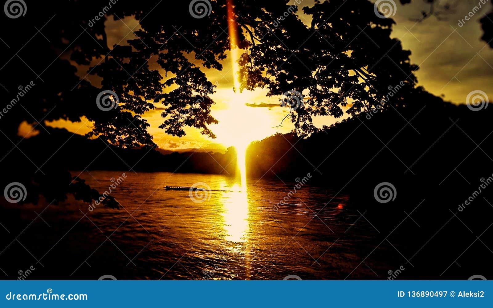 Por do sol em Luang Prabang