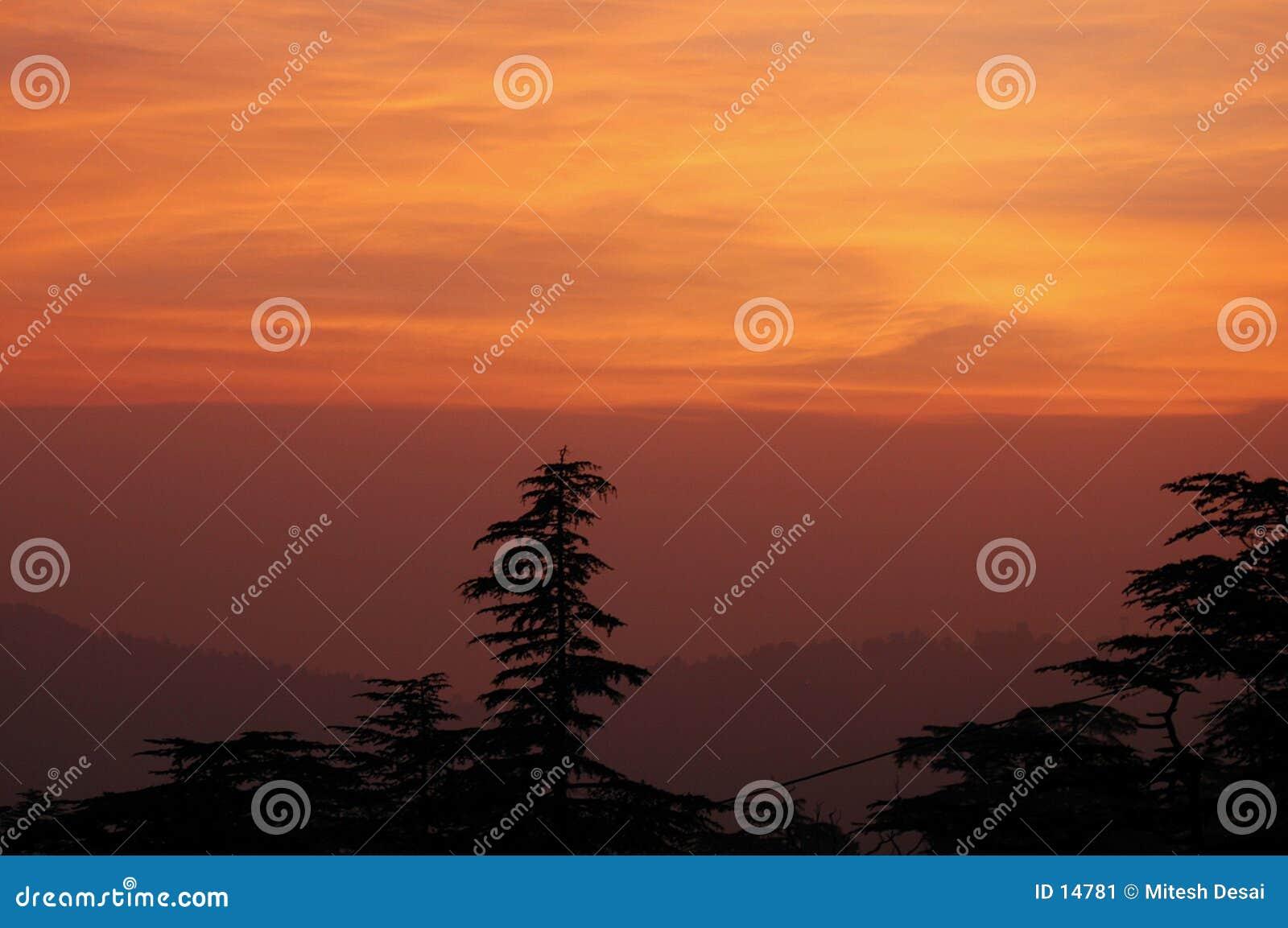 Por do sol em Shimla