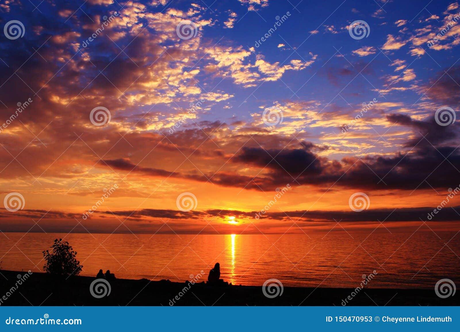 Por do sol do Lago Erie