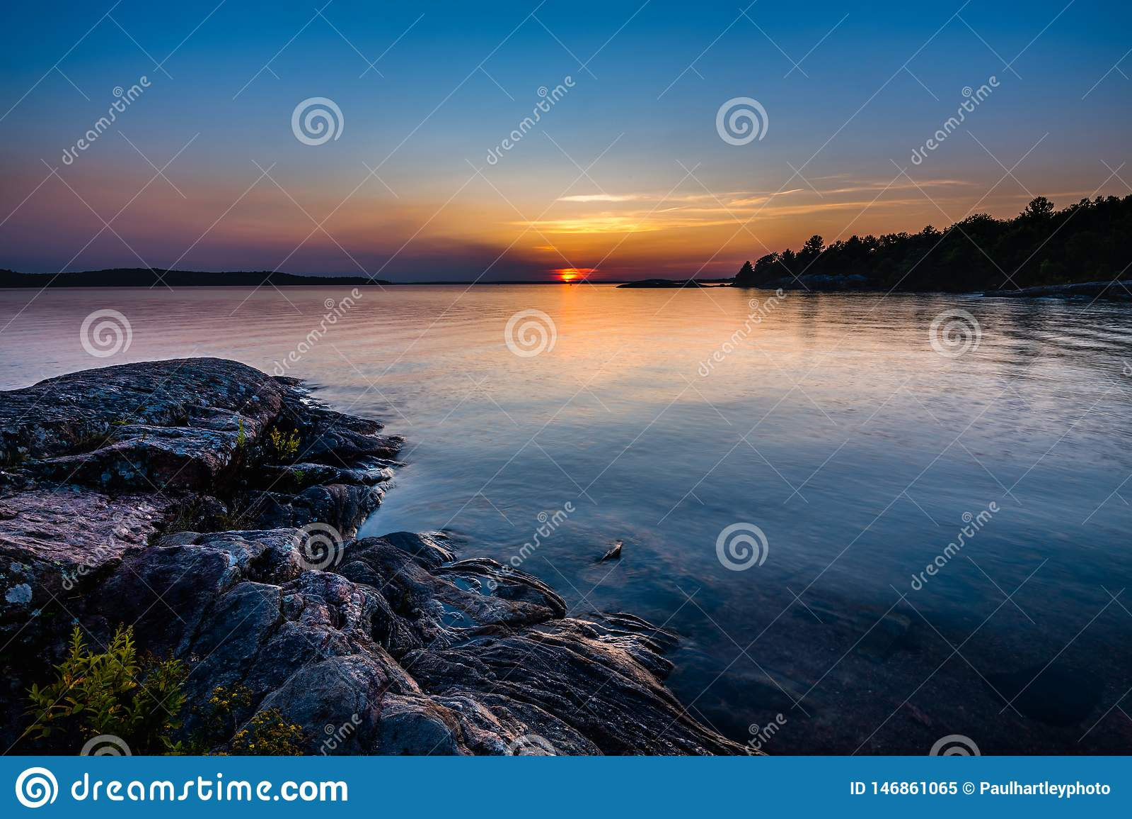 Por do sol na baía Georgian Ontário