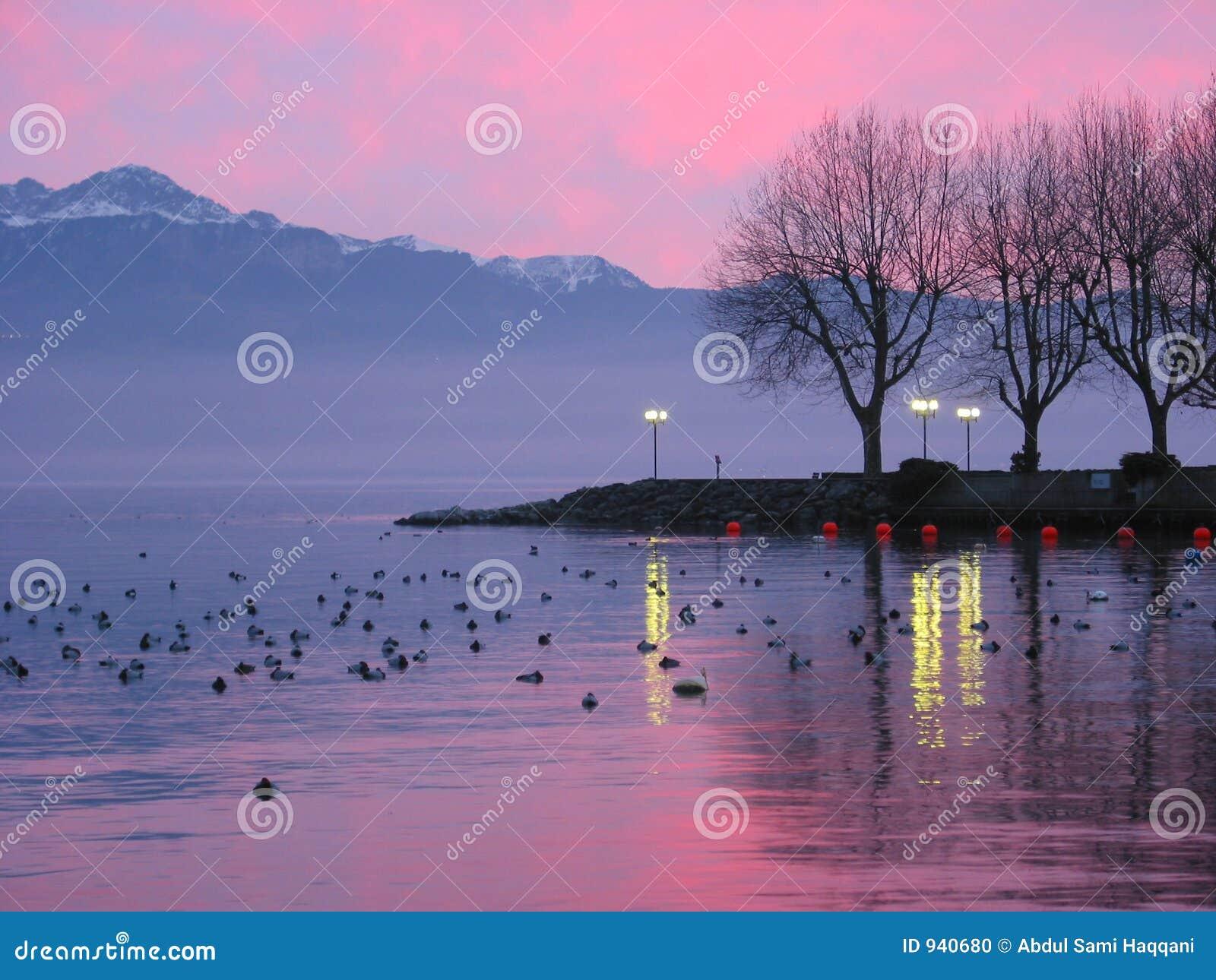 Por do sol no lago Genebra 2