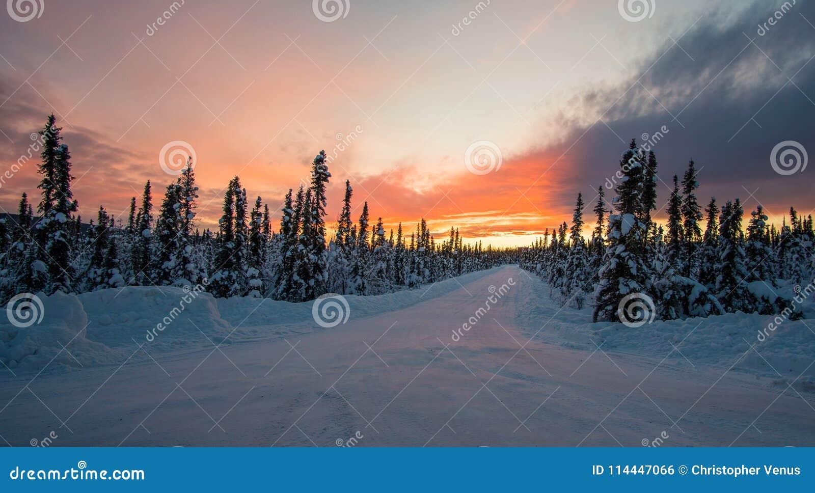 Por do sol surpreendente de Fairbanks Alaska