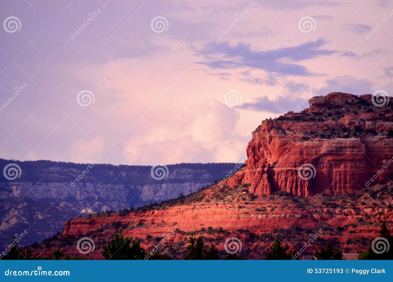 Por do sol vermelho da rocha