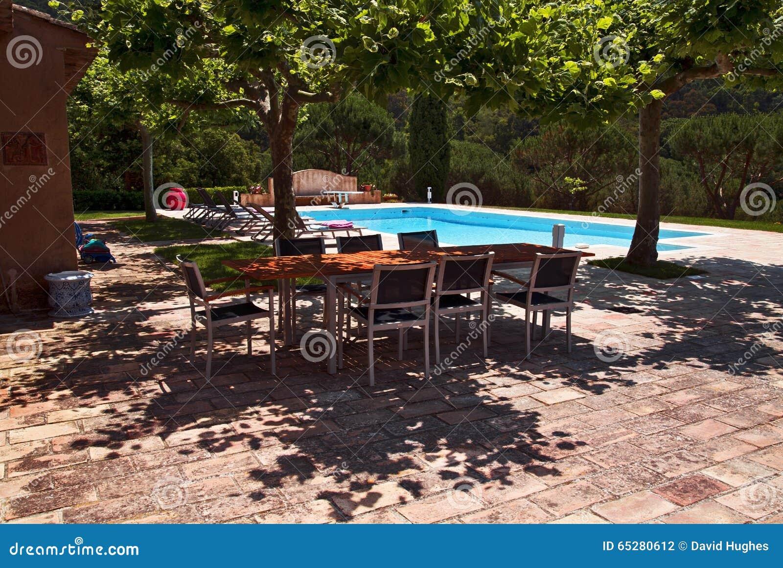 Por La Piscina Tabla Y Sillas En La Sombra De Rboles Planos Foto  ~ Arboles De Sombra Para Piscinas