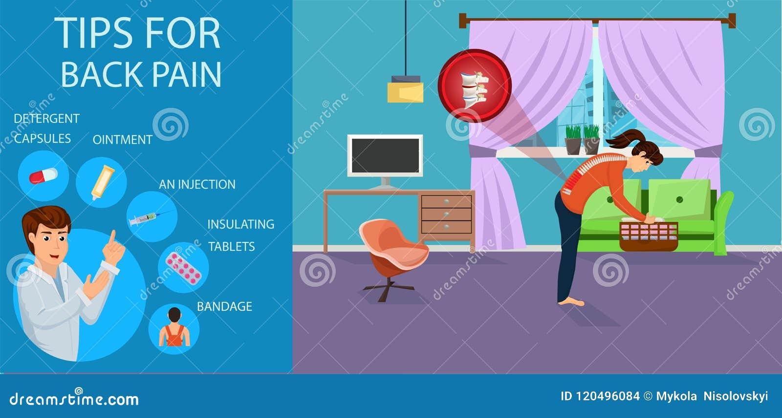 Porady dla bólu pleców dla kobiet również zwrócić corel ilustracji wektora