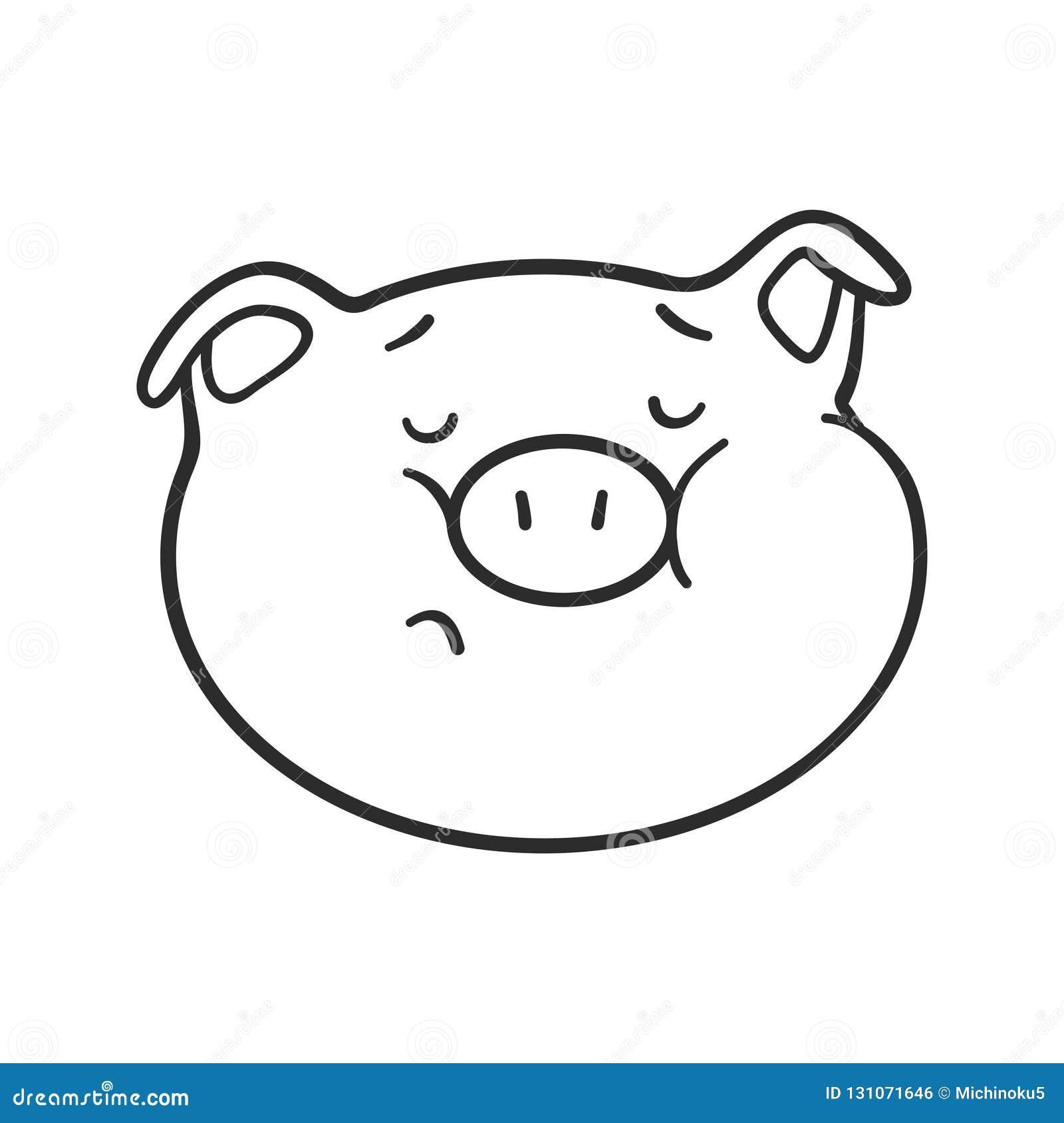 Porc D Emoji Pour Livre De Coloriage Icone D Emoticone