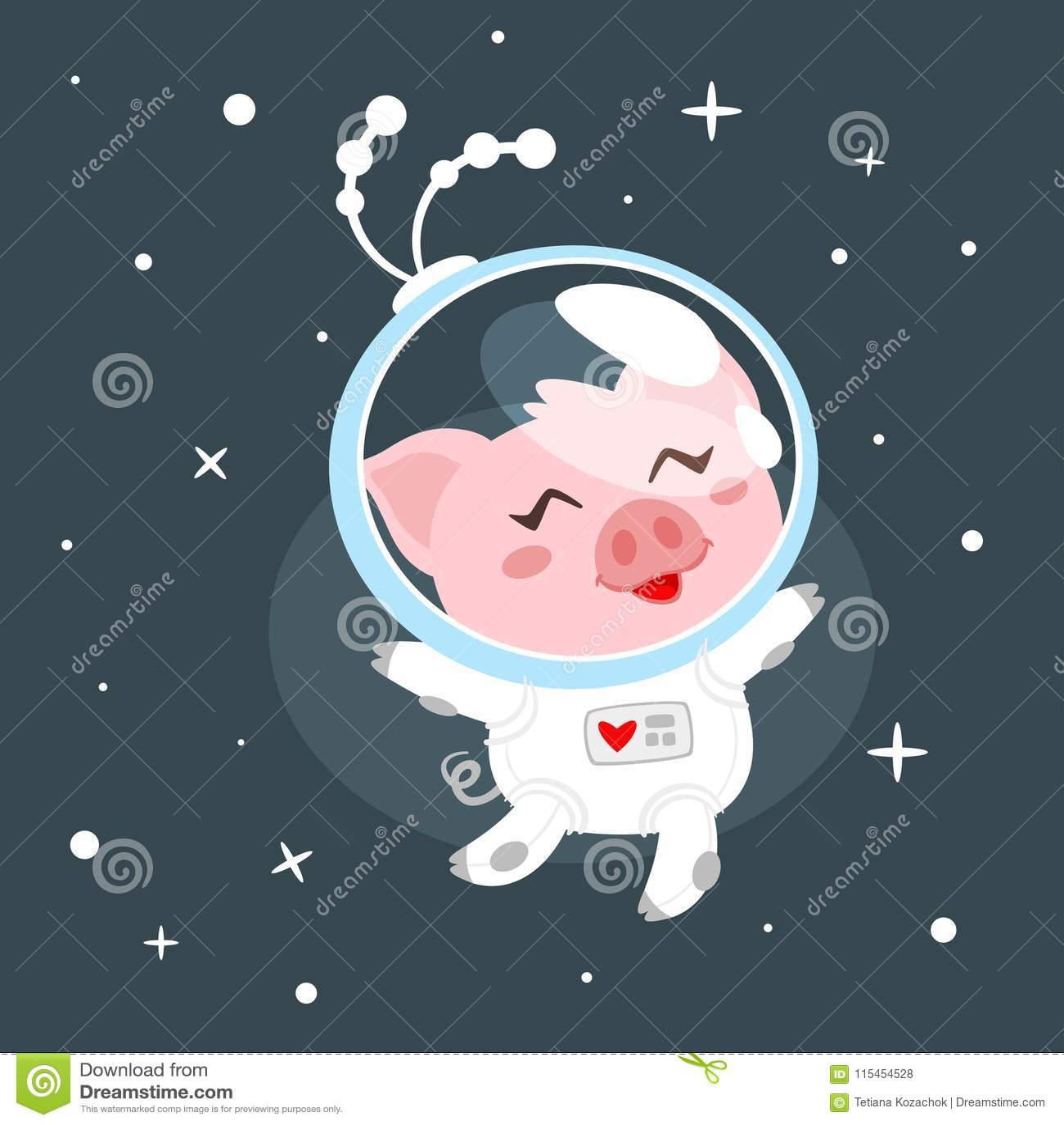 Porc dans le costume d espace