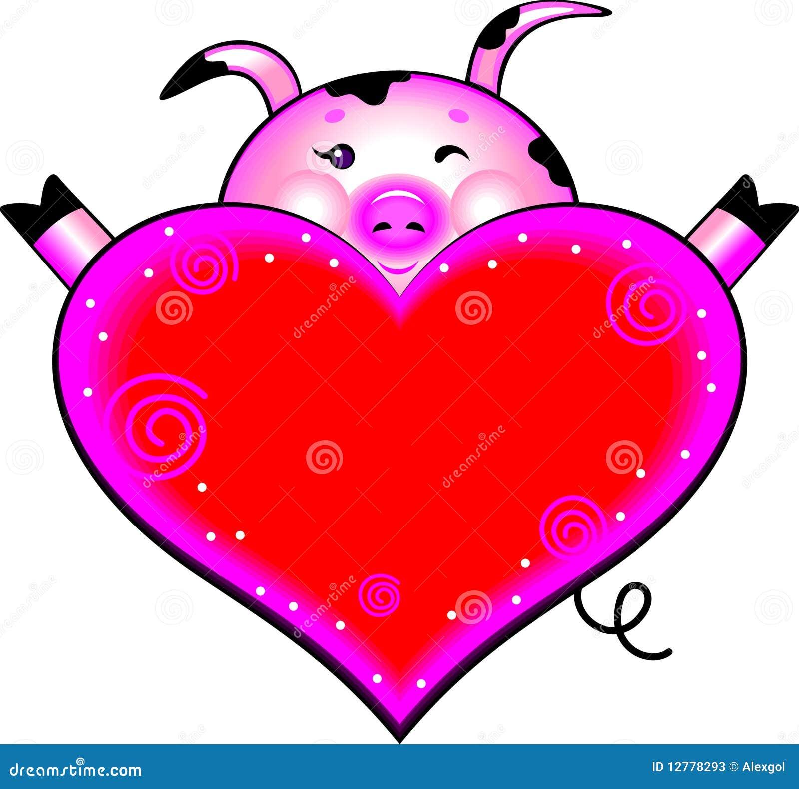 Porc De Dessin Animé Avec Le Coeur D Amour Illustration