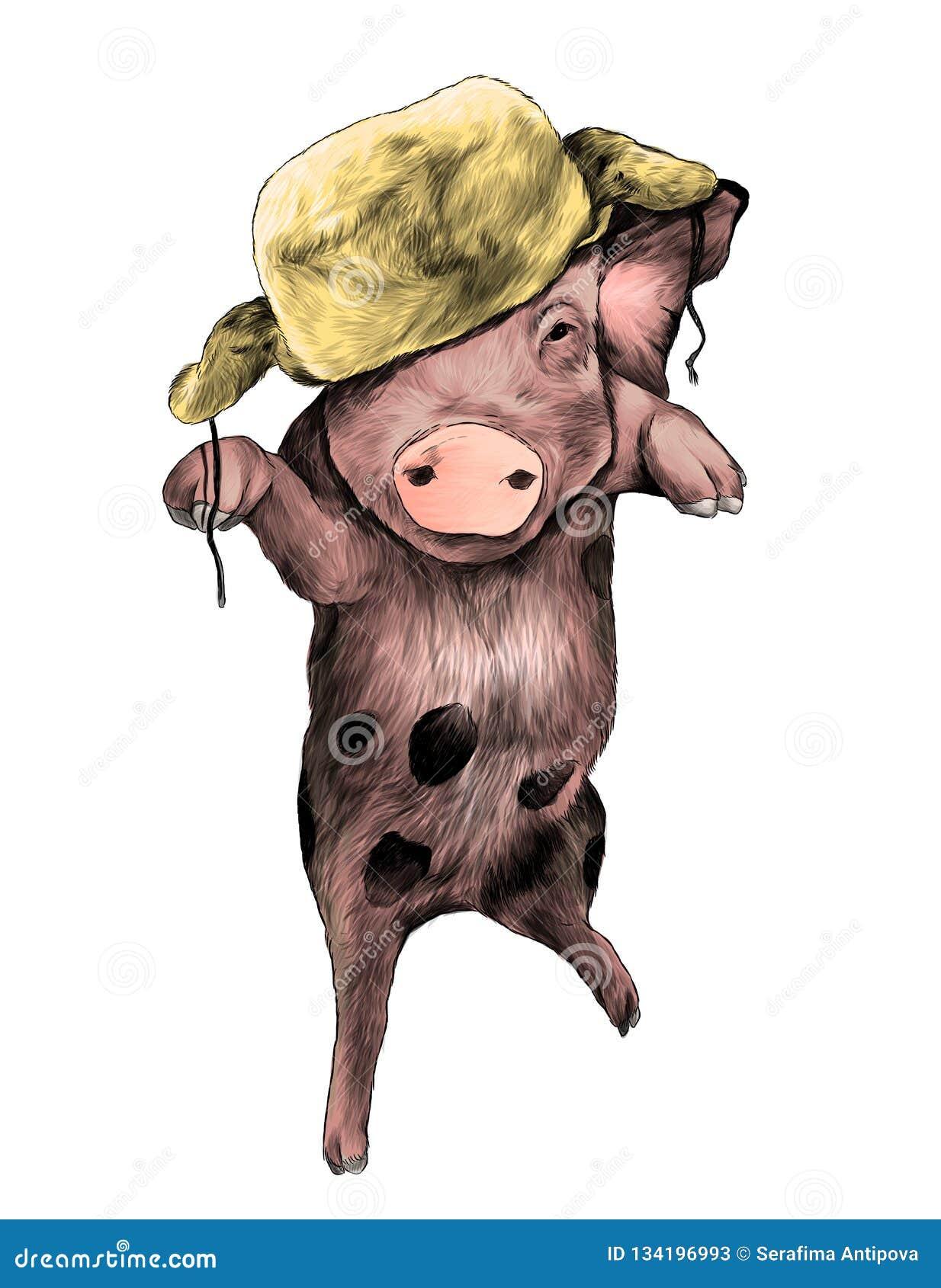 Porc de Noël dans le chapeau chaud sur la tête rebondissant dans le ciel sur une patte avec les pattes avant augmentées