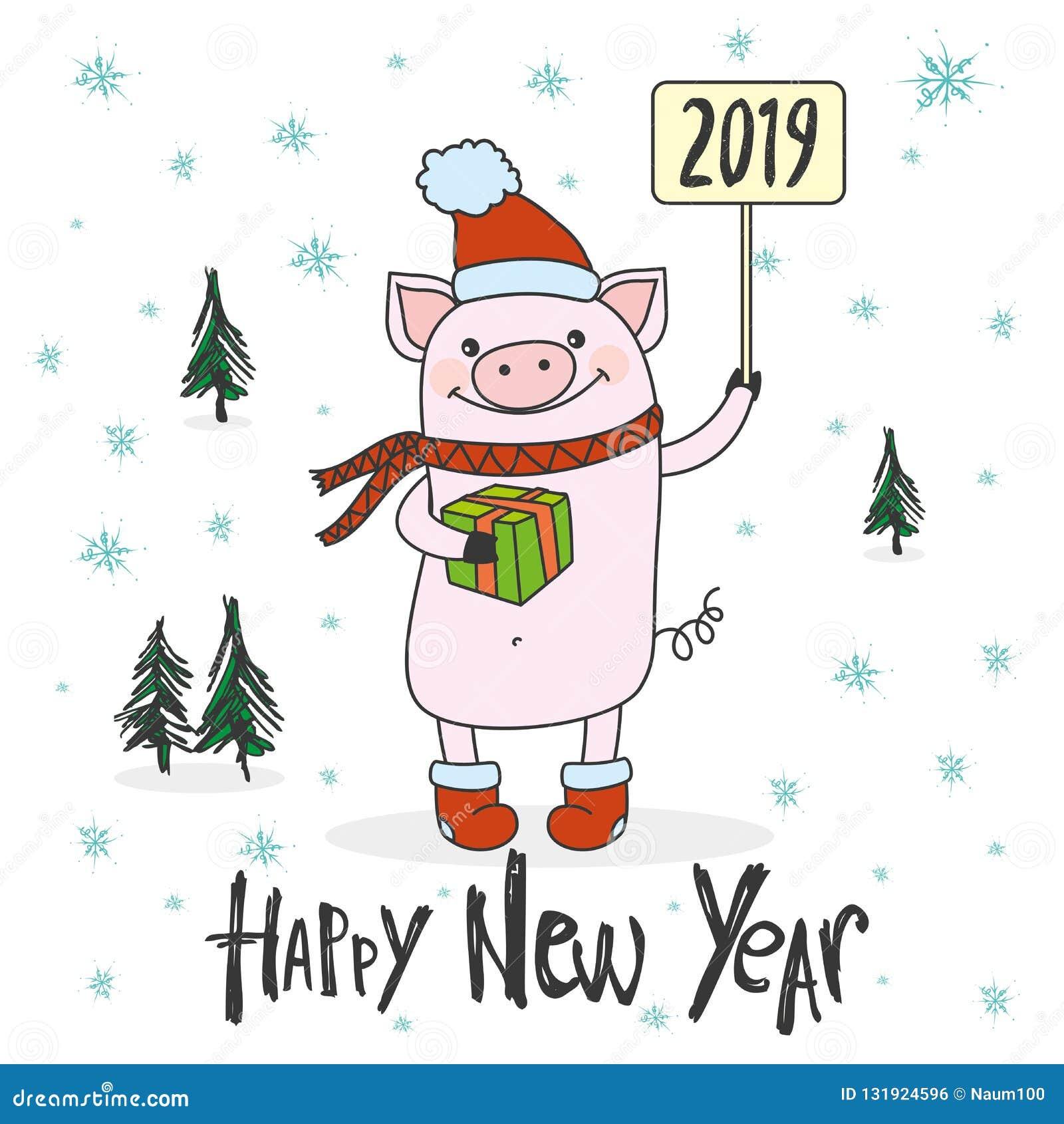 Porc Drole Et Mignon Avec Le Signe Symbole De Porc De Nouvel 2019 Ans Illustration De Vecteur Illustration Du Signe Porc 131924596