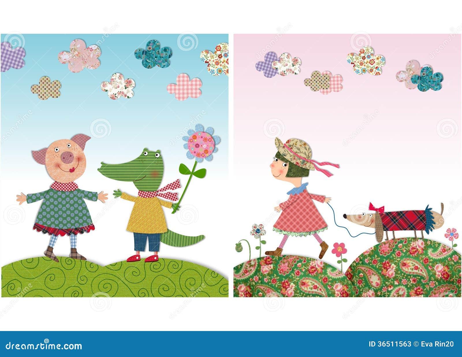 Porc et crocodile, fille et chien