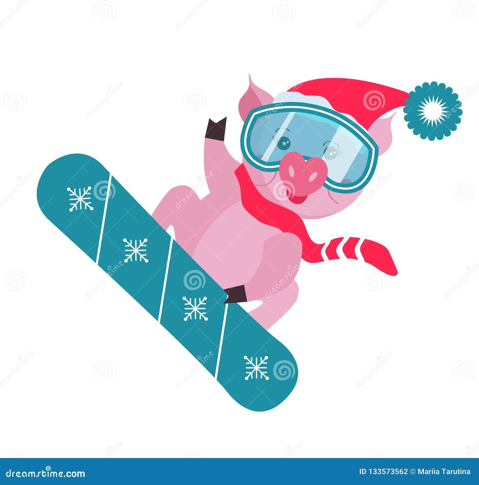 Porc mignon sur le surf des neiges d isolement sur le fond blanc, symbole dans le calendrier chinois des 2019 ans Illustration de