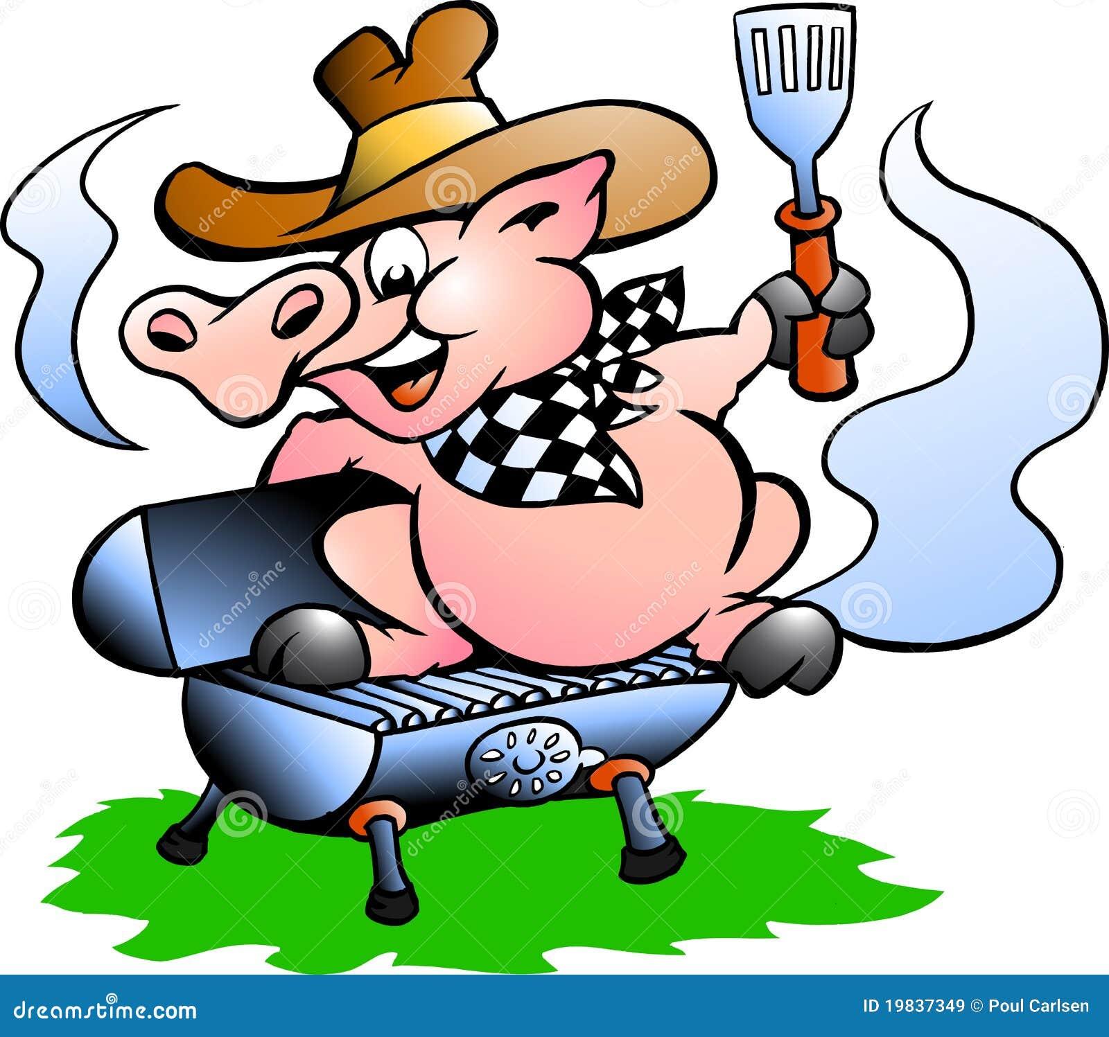 Porc se reposant sur un baril de BBQ
