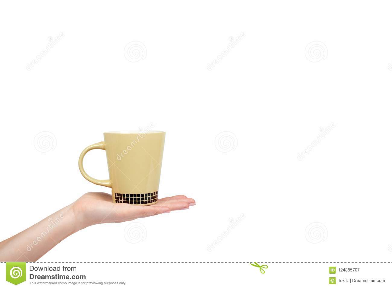 Porcalain brown tea cup with hand isolated on white background copy download porcalain brown tea cup with hand isolated on white background copy space template stock maxwellsz