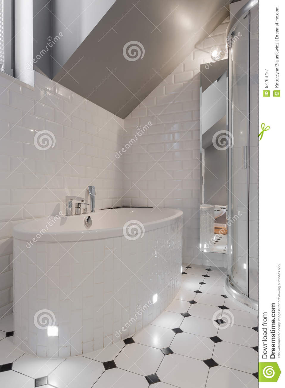 Porcelain Bathtub In White Washroom Stock Image - Image of restroom ...
