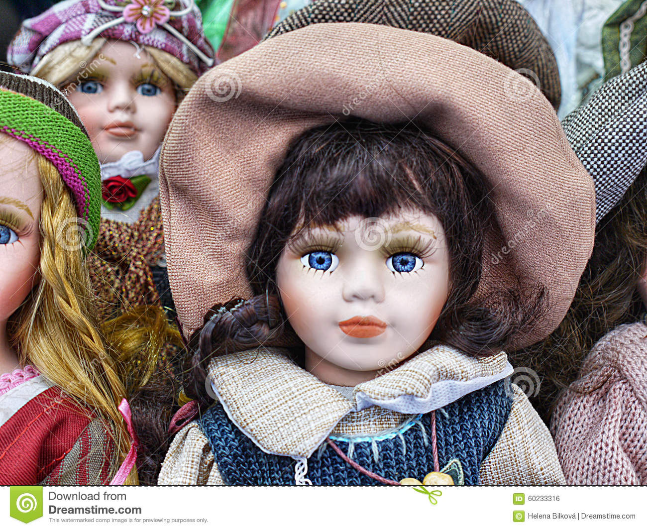 Porcelain Dolls, Toy Store stock photo. Image of several