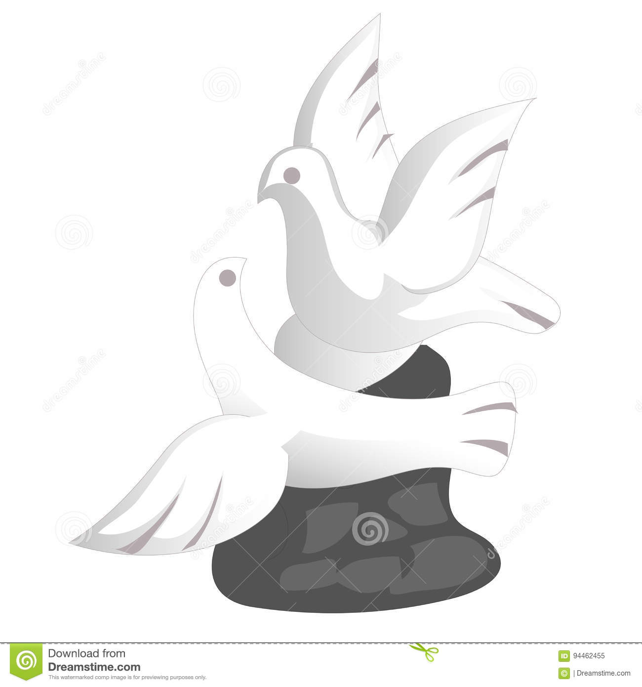 Porcelain Doves Souvenir Toy In A Flat Design Symbol Of Peace And