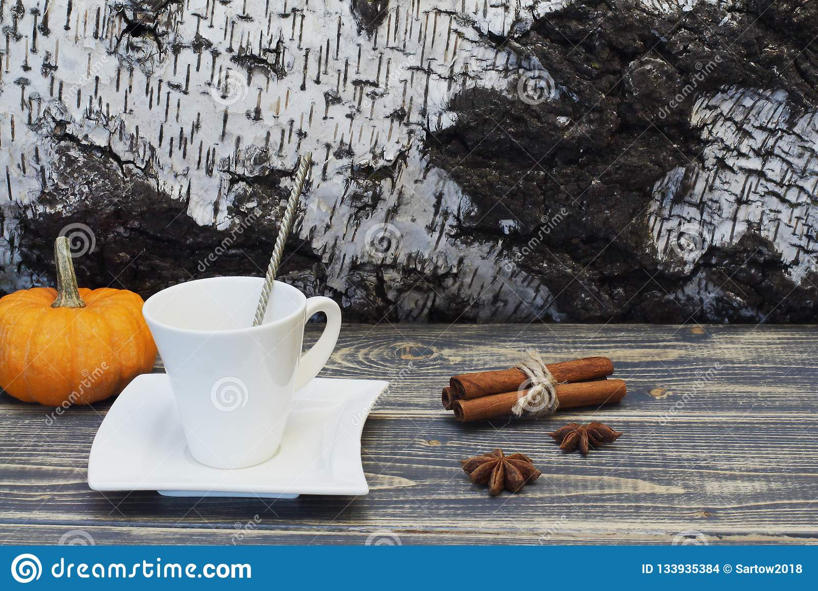 Exclusive white porcelain coffee pair with metal spoon, cinnamon, star anise and bright orange decorative pumpkin against the
