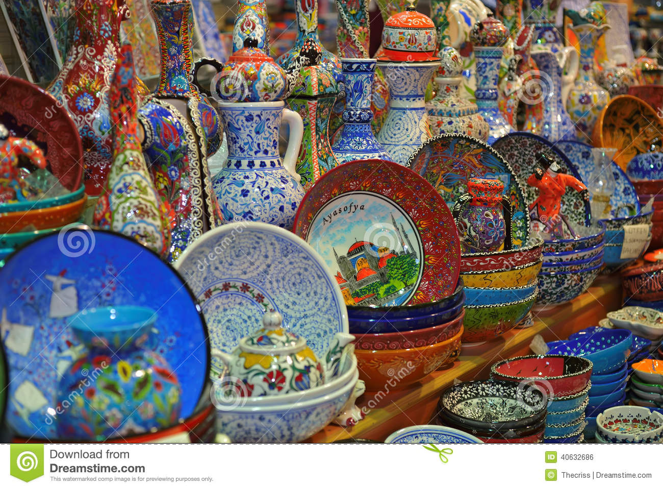Porcelain Souvenirs Of Istanbul Grand Bazaar Stock Photo