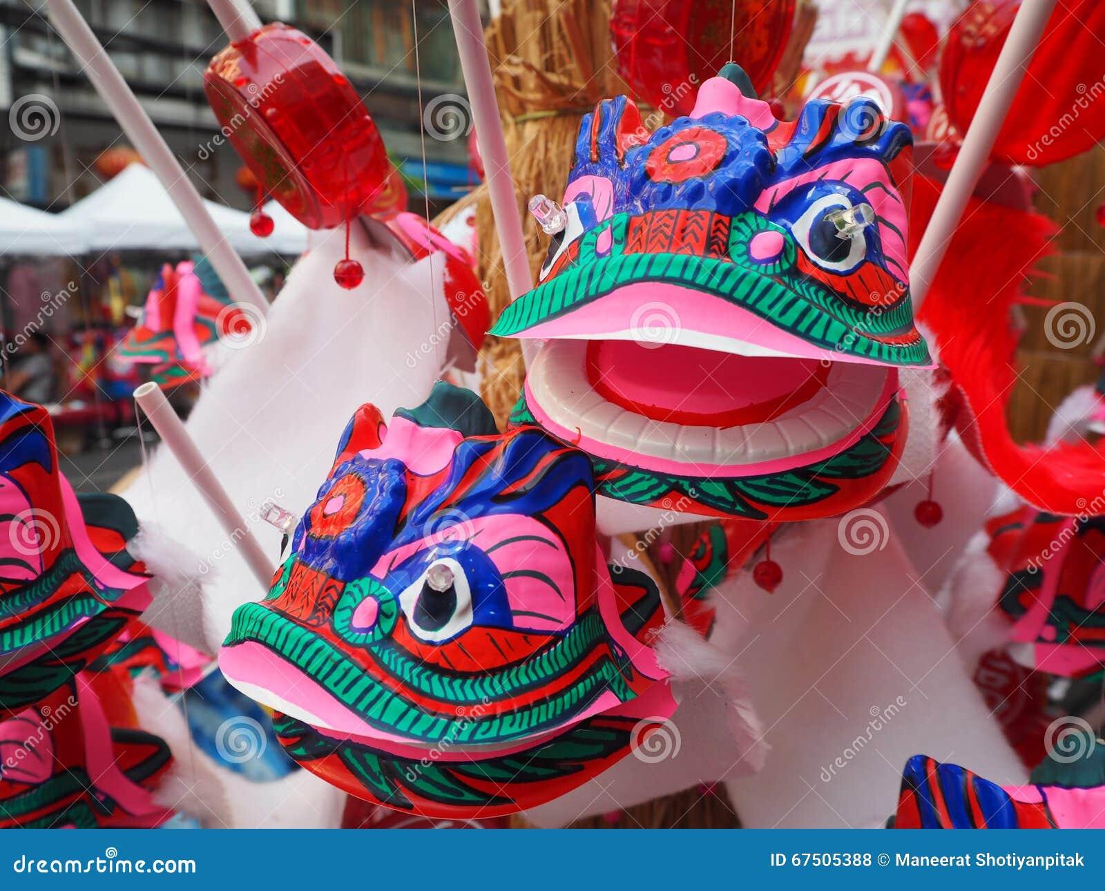 Porcelaine principale de dragon de danse de plan rapproché