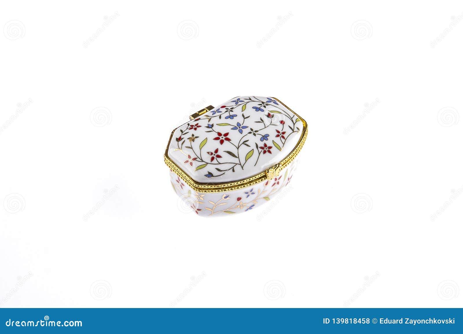 Porcelana bonita ou caixa cerâmica do vintage para a joia