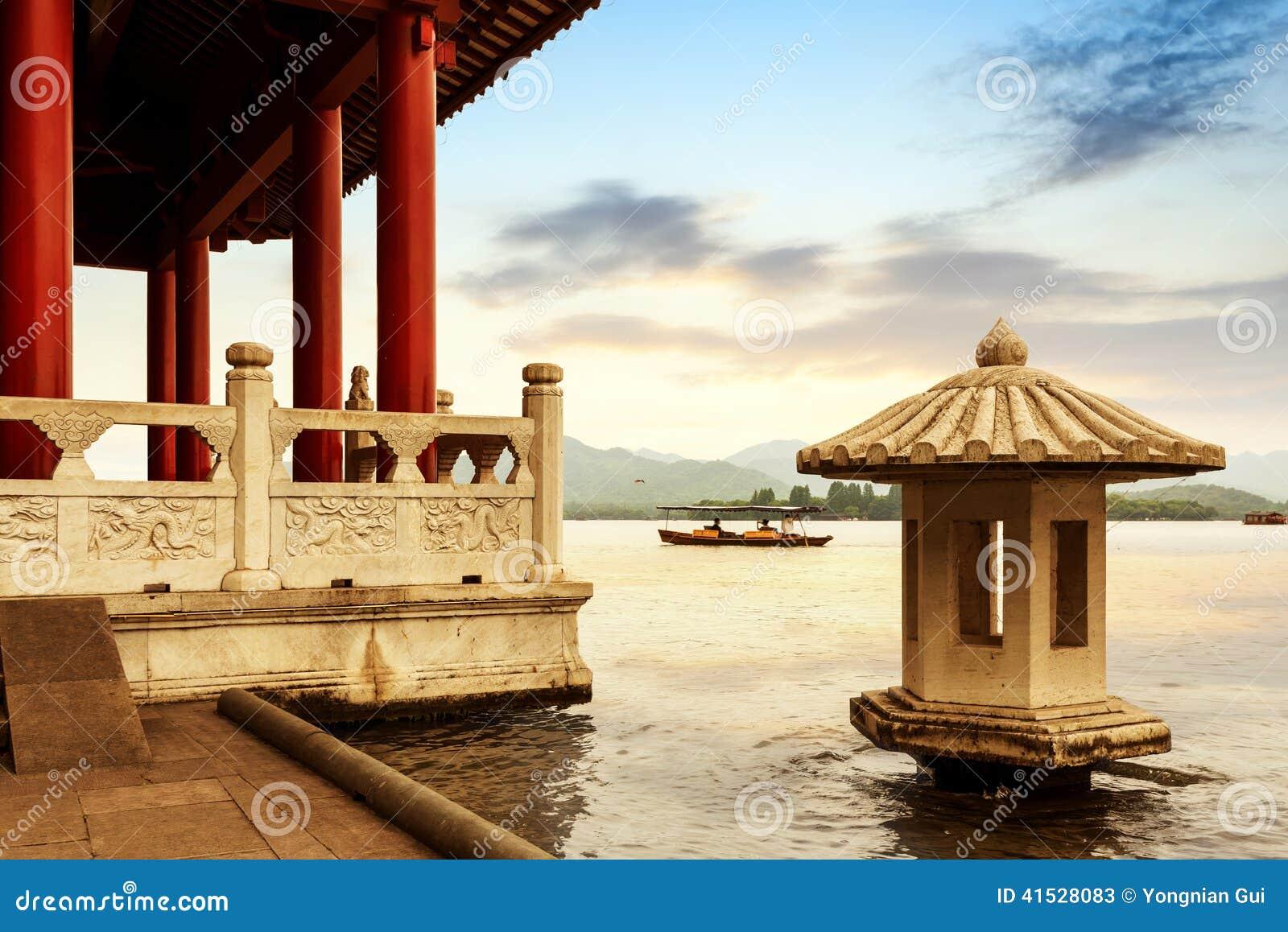 Porcelanowa Hangzhou Zachodnia Jeziorna sceneria