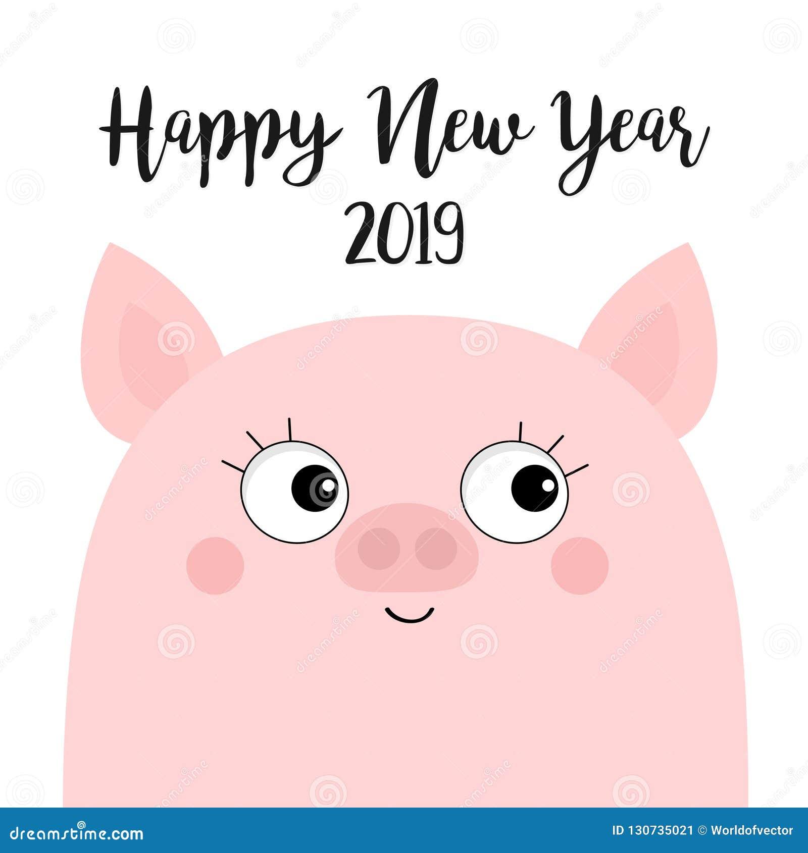 Porcelet Porcin Rose Bonne Annee 2019 Tete De Visage De Porc Symbole