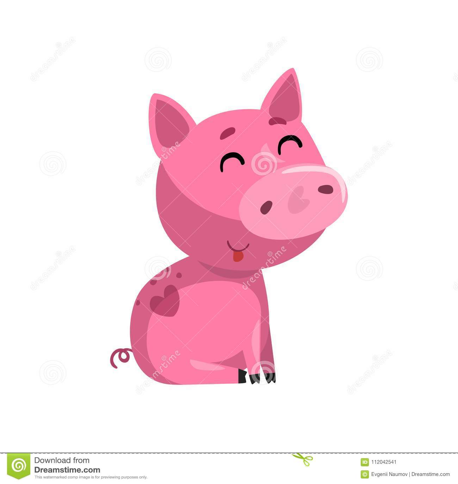 Porcellino divertente rosa sorridente del bambino del fumetto, piccola illustrazione sveglia di vettore del carattere di porcelli