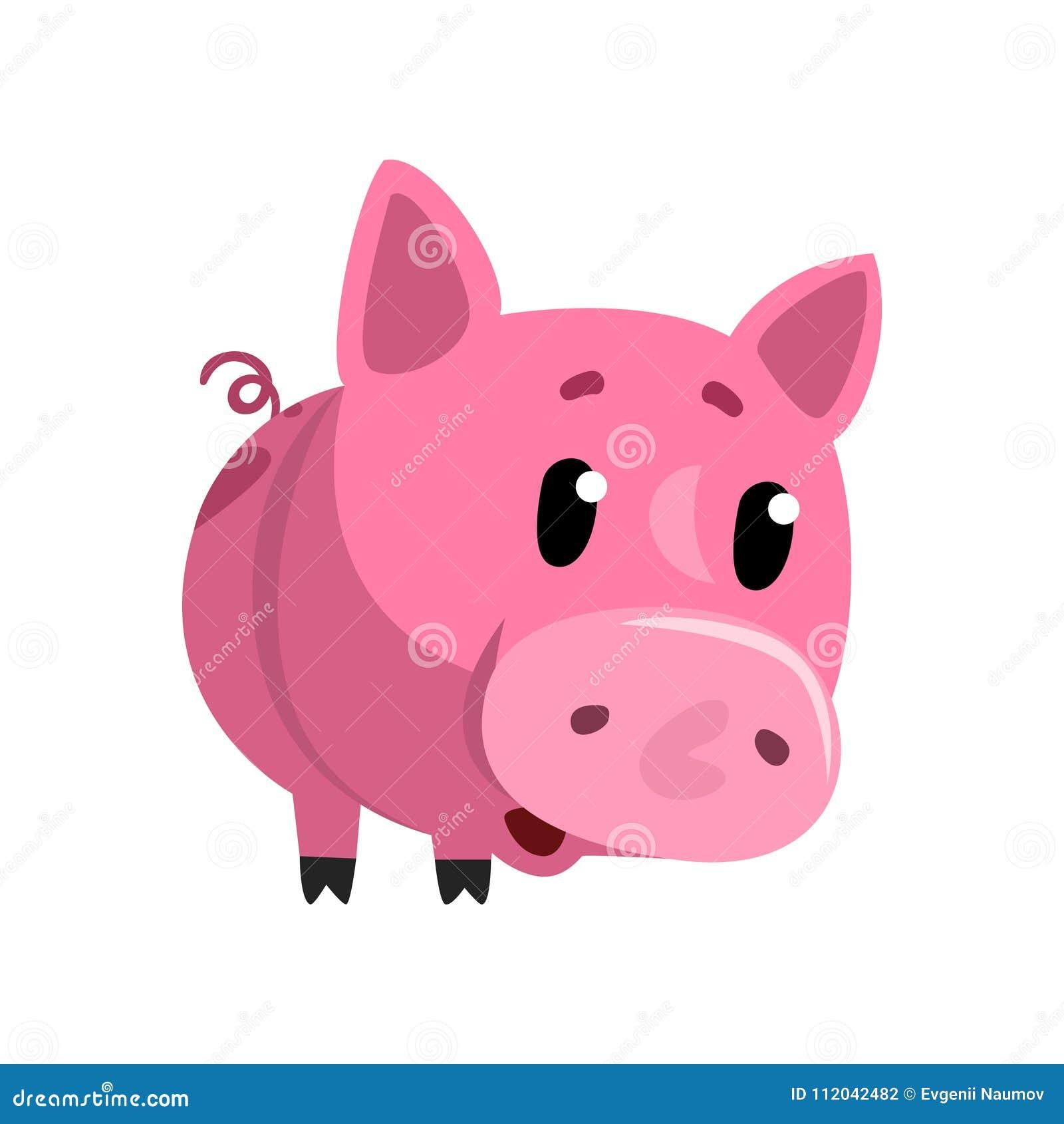 Porcellino rosa triste del bambino del fumetto, piccola illustrazione divertente sveglia di vettore del carattere di porcellino s