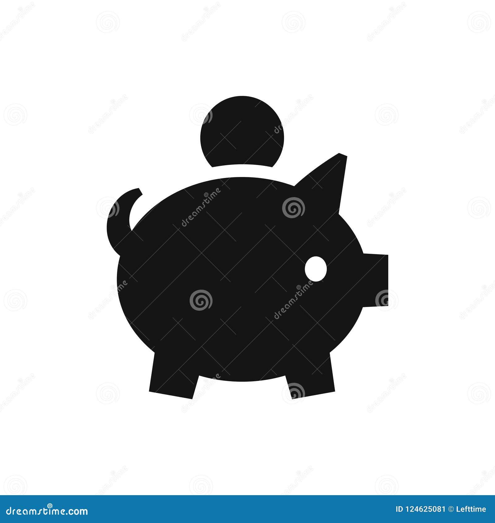Porcellino salvadanaio con l icona del nero della moneta, simbolo dei soldi di accumulazione