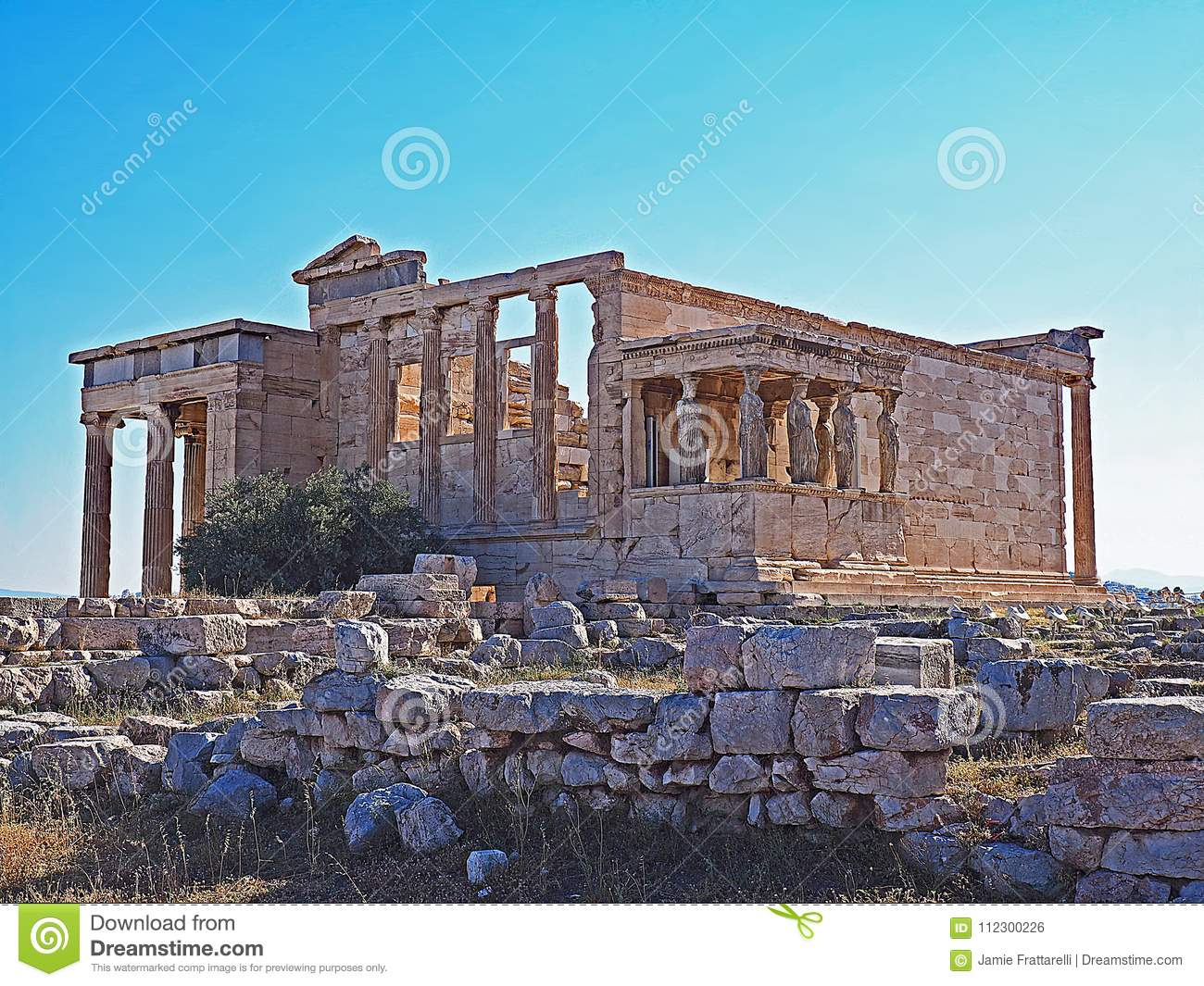 The porch of the Caryatids and the Erecthion at the Acropolis in Athens, Greece