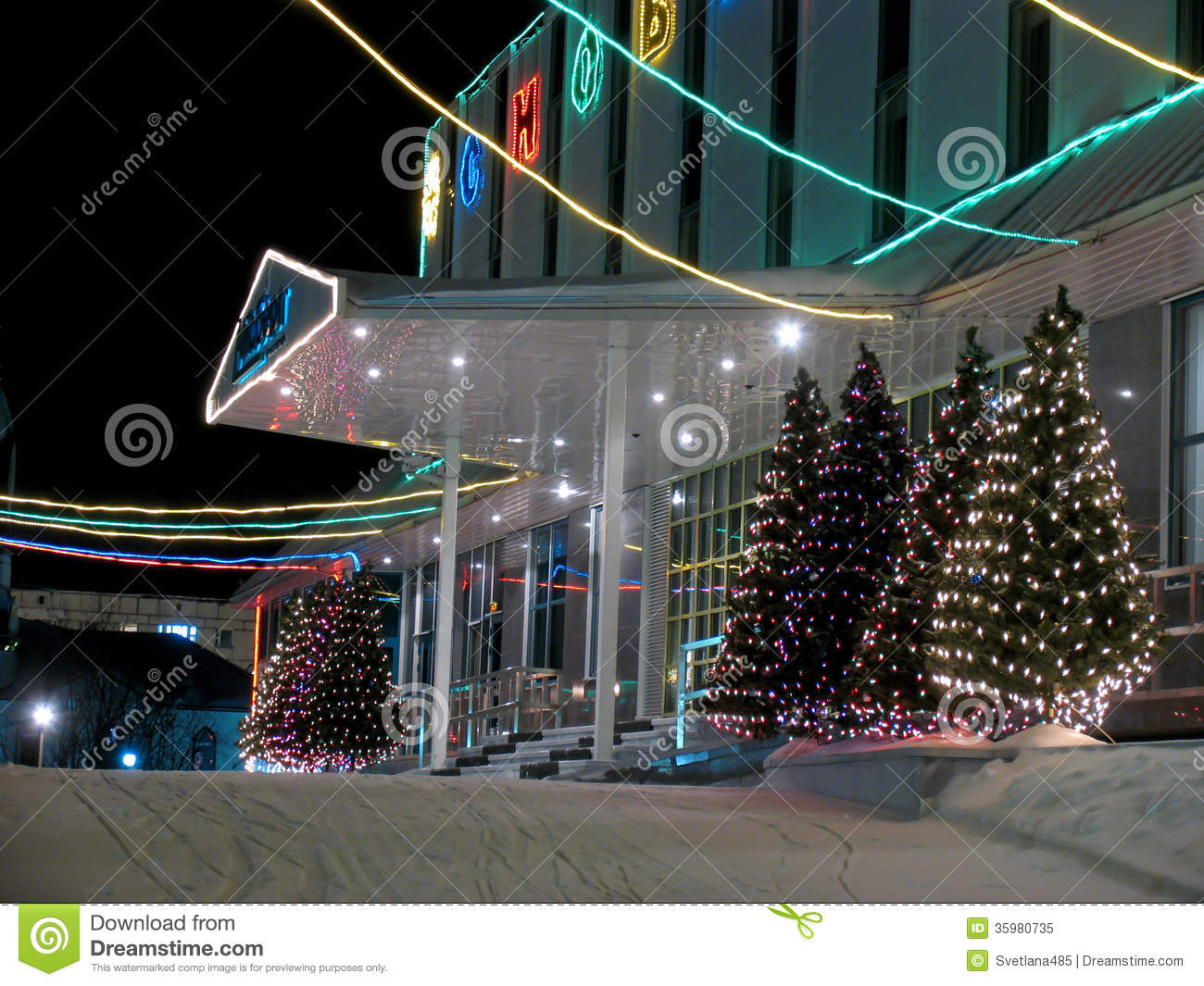 Porch Christmas Decorations Porch Office Building Close Up New Year Editorial Image