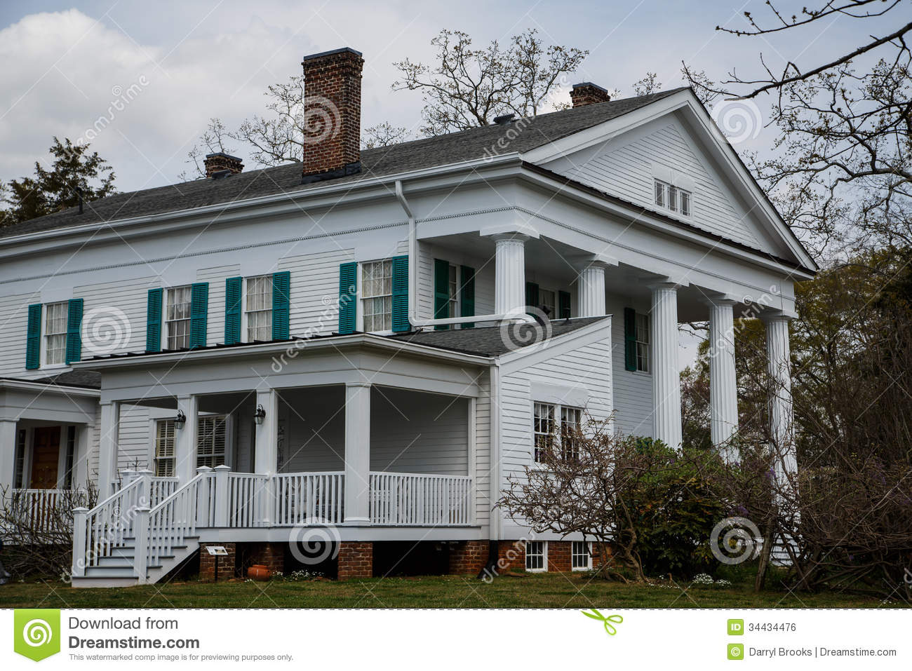 Porch on old colonial stock photo image of home exterior for Colonial porch columns