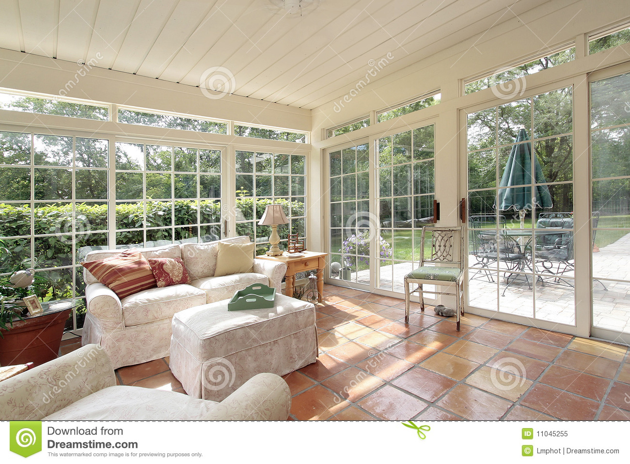 Porch With Spanish Tile Stock Image Image Of Interior