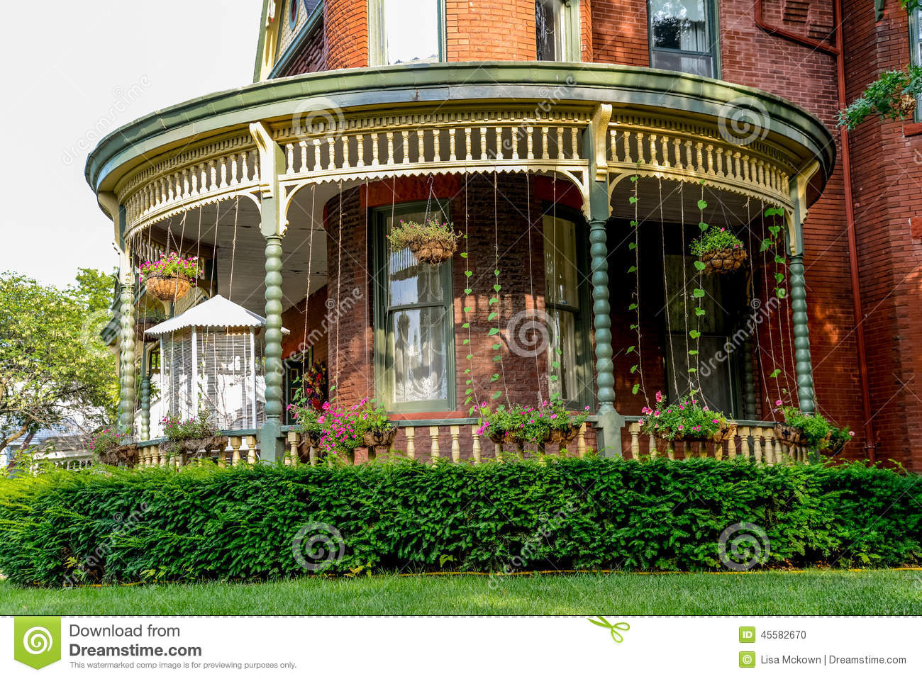 Porch At A Victorian Brick Bed And Breakfast Home Stock
