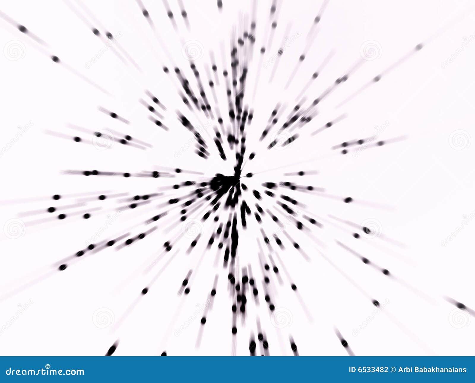 Porciones de emisión de partículas del negro oscuro