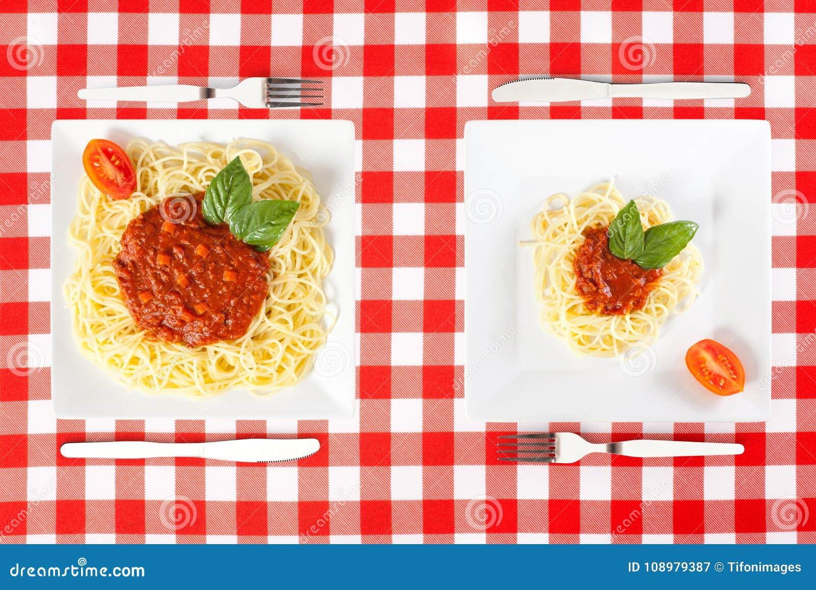 Porciones grandes y minúsculas de la comida