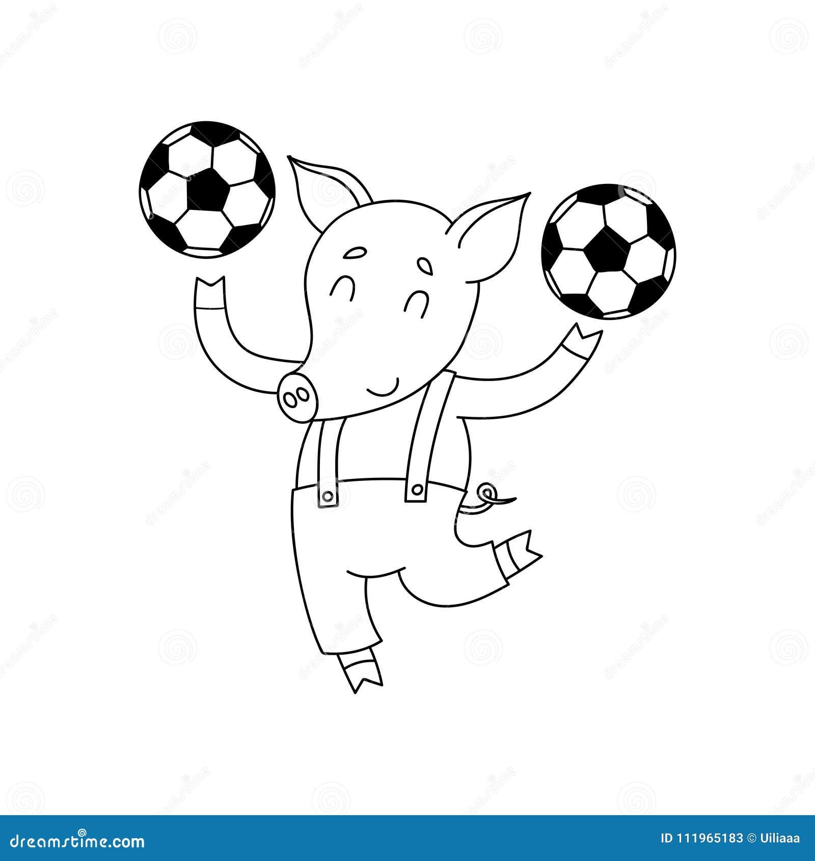 Porco alegre do vetor com bolas Jogador de futebol feliz dos desenhos animados