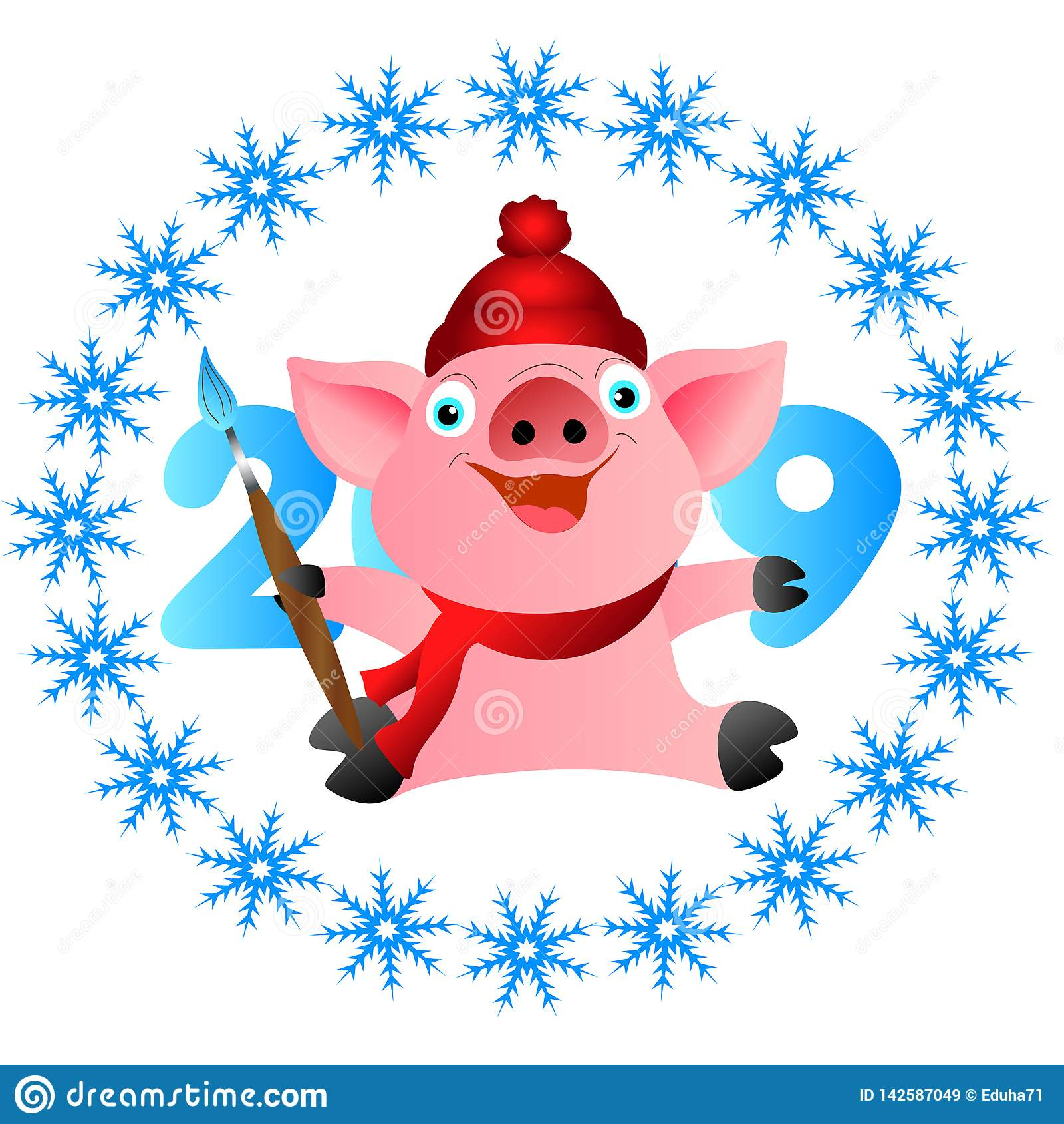Porco do Feliz Natal com uma escova Porco do Feliz Natal com uma escova