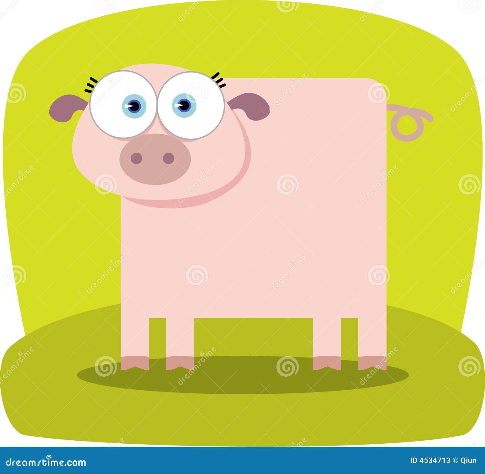 porco dos desenhos animados com olho grande ilustração do vetor