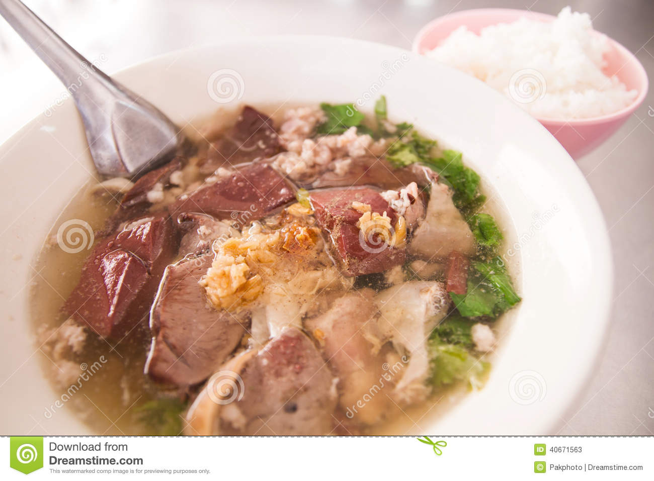 Pork Blood Soup In The Bowl Stock Photo - Image: 40671563