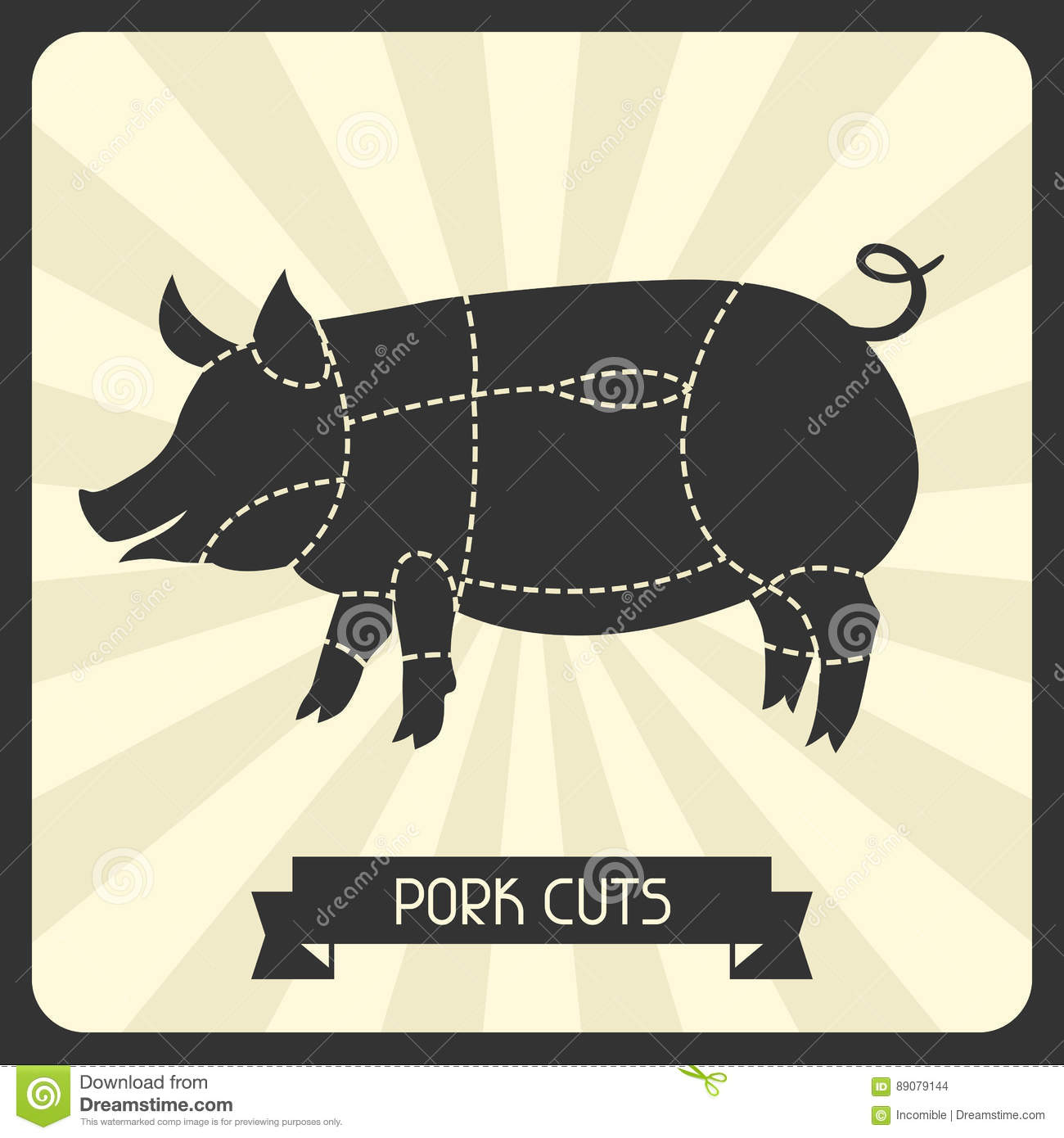 Pork Cuts Butchers Cheme Cutting Meat Illustration Stock Vector Pig Cut Diagram