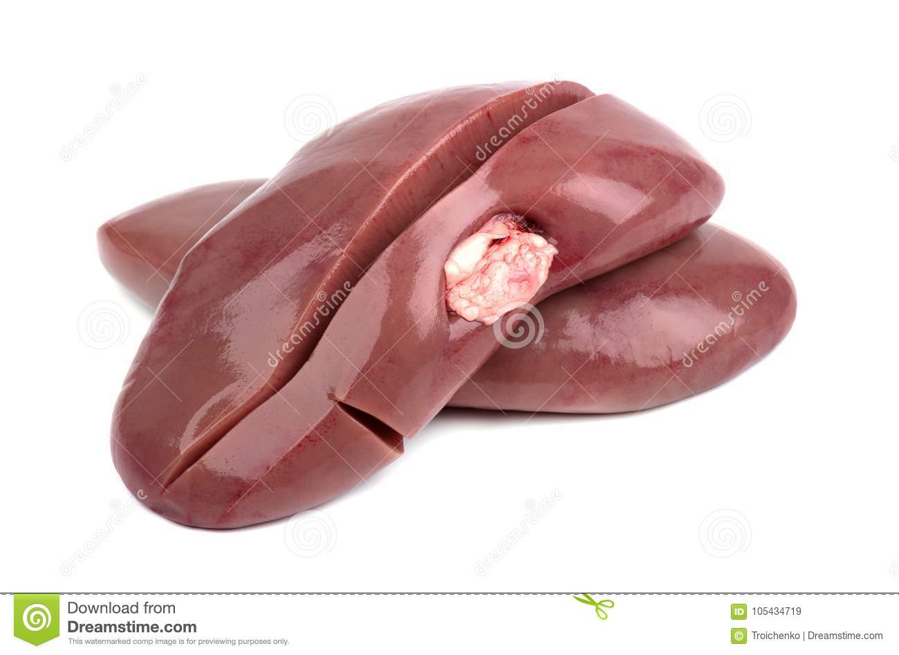 Pork Kidney Raw Isolated On White Background Closeup Pig Kidney