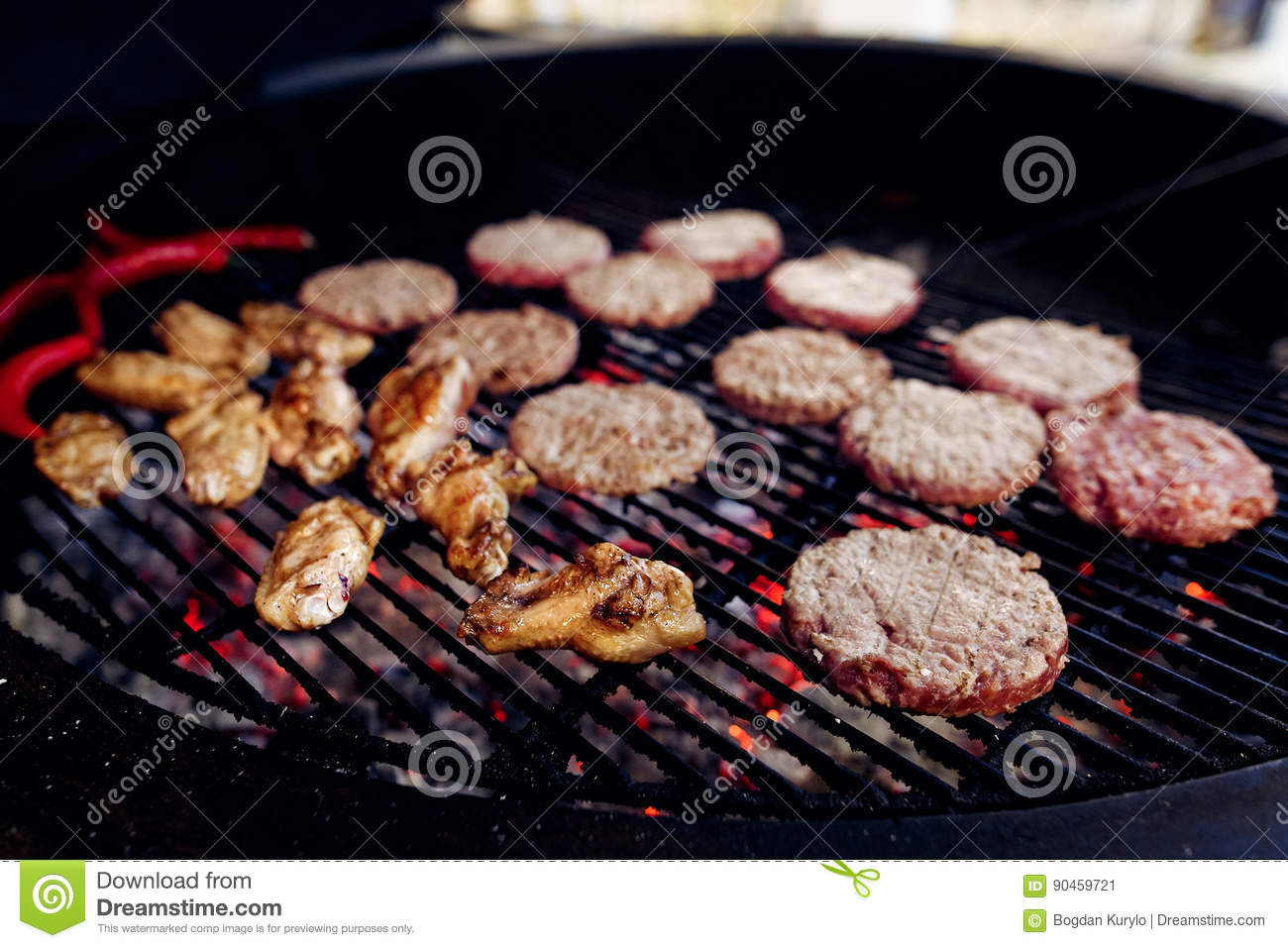 Pork meat and chicken cutlets with pepper grilling for burgers.