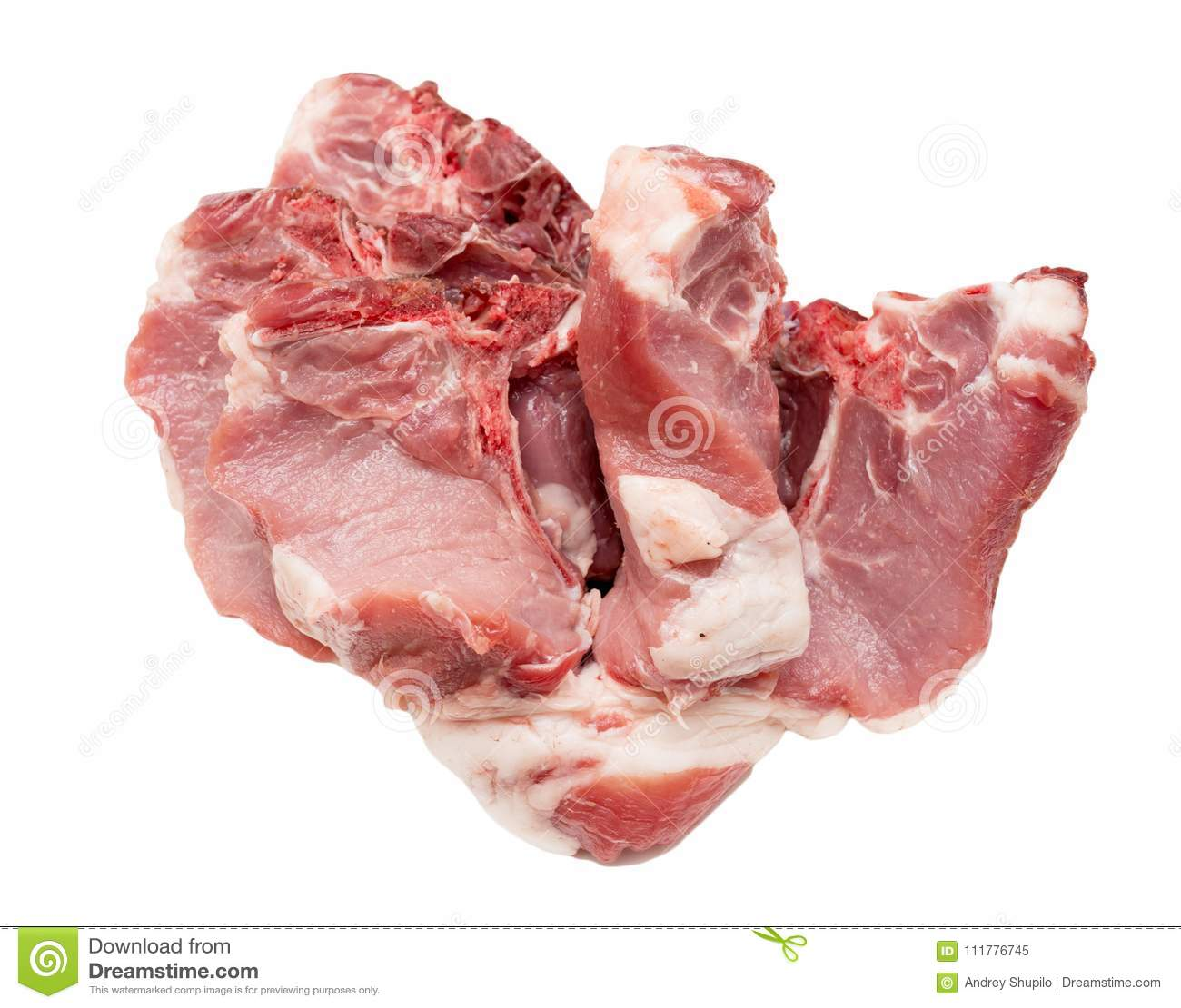 Pork meat on a white background