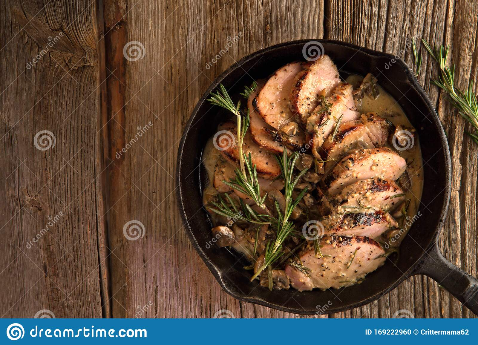 Pork Medallions With Cream Sauce In Cast Iron Pan Stock Photo Image Of Cast Garlic 169222960