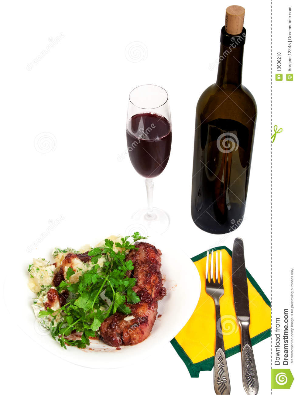 Pork Ribs With Potato And Wine Stock Photo - Image: 13636210